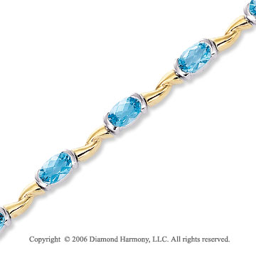 14k TwoTone Gold Oval Channel Blue Topaz Tennis Bracelet